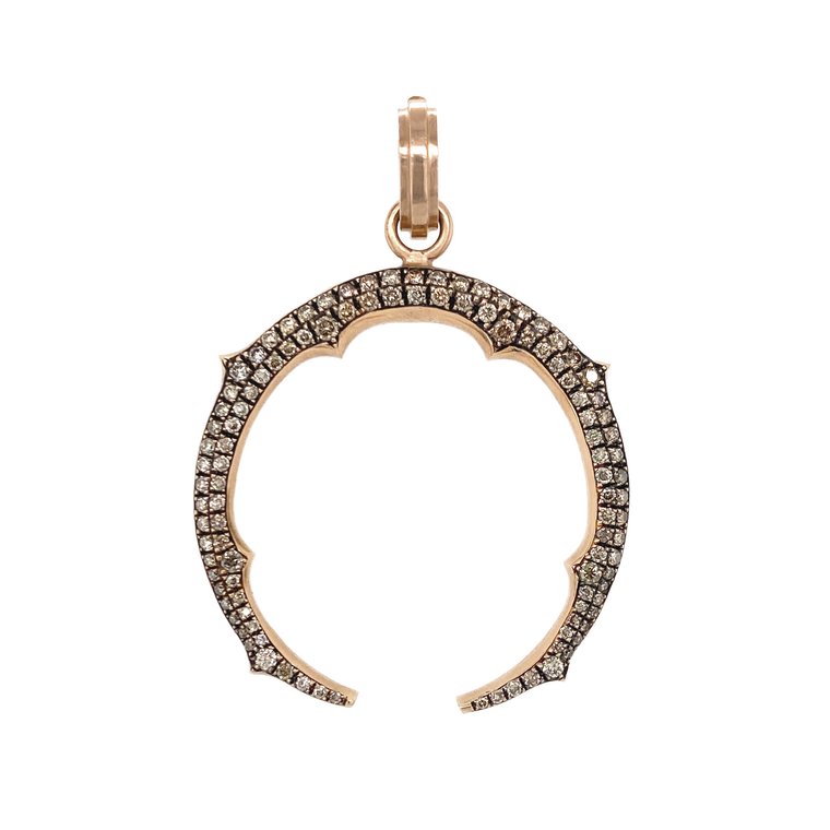 Champagne Diamond Horseshoe Pendant - Lesley Ann Jewels
