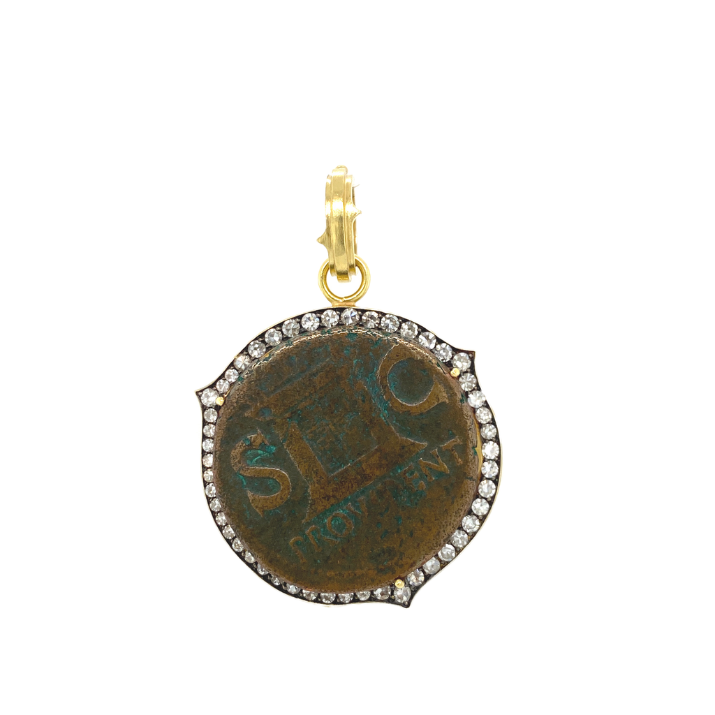 Augustus Caesar Coin in Yellow Gold Bezel