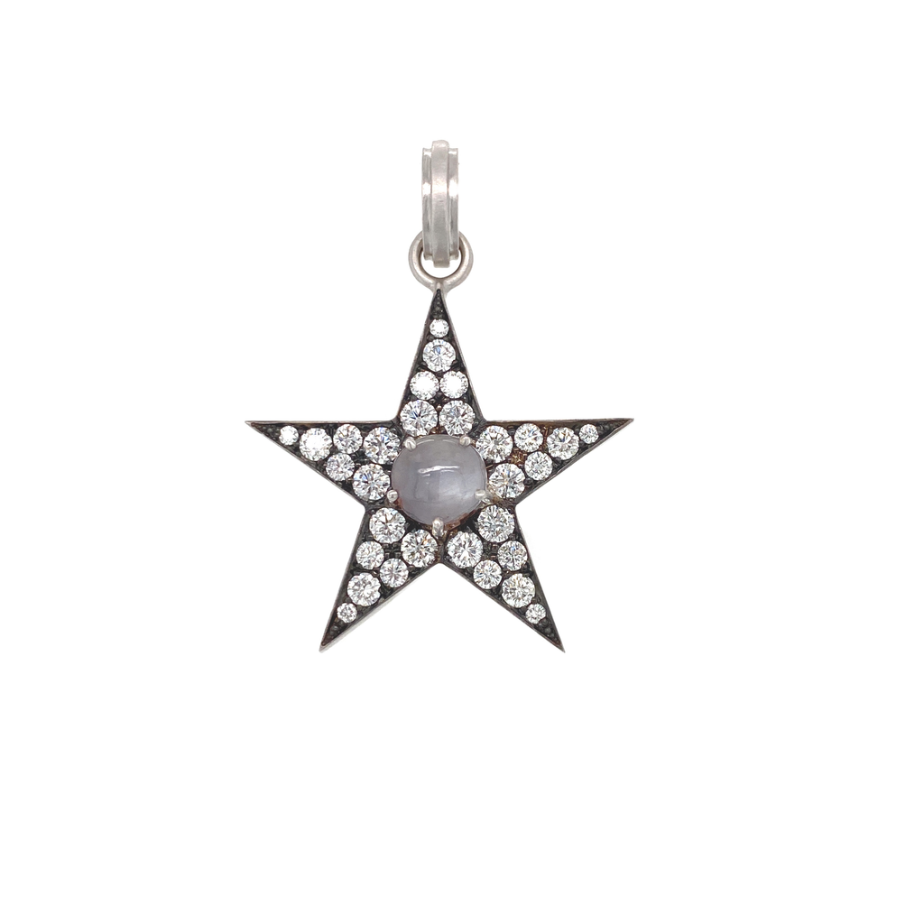 Diamond Star Pendant With Star Sapphire