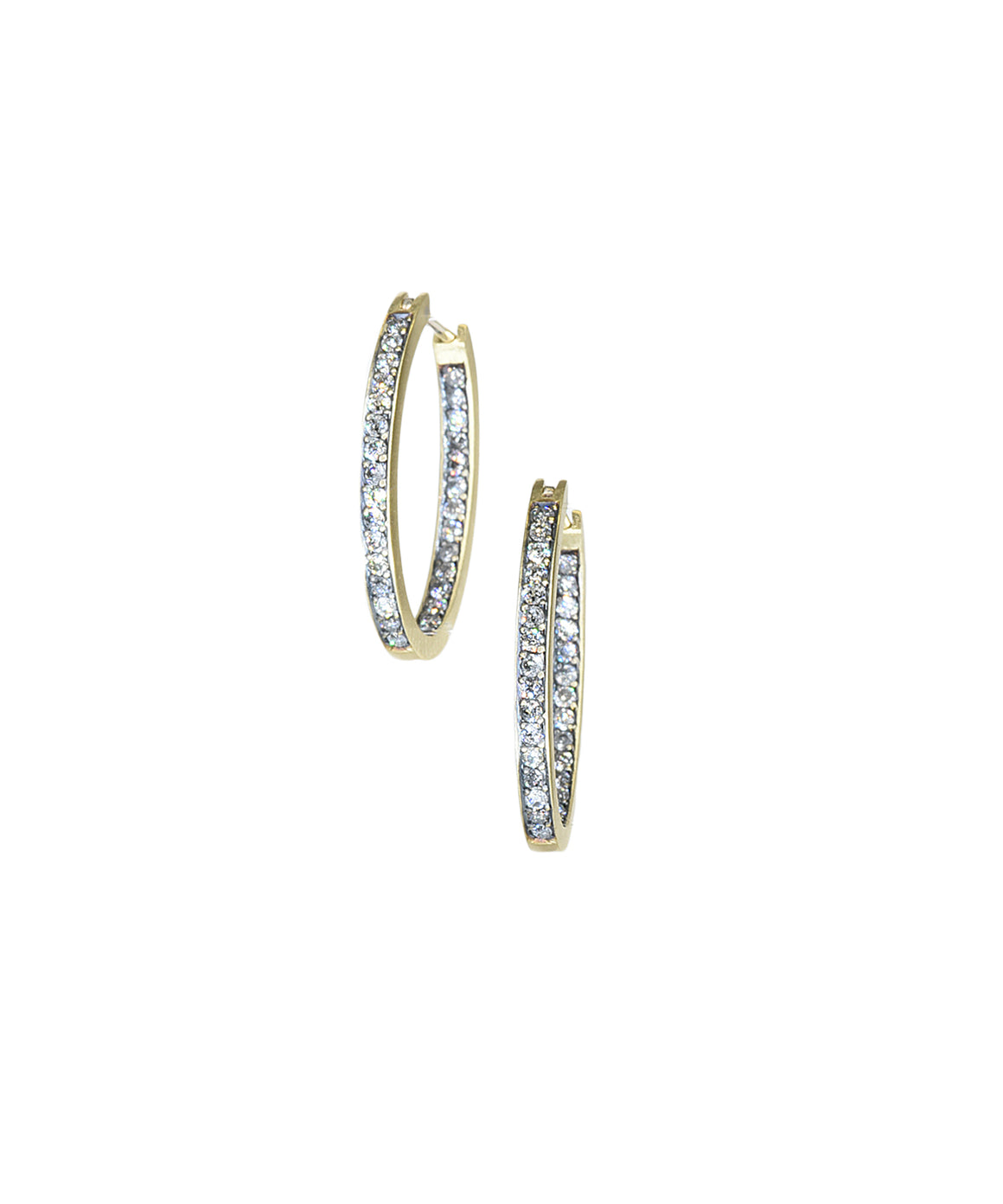 Grey diamond hoop earrings