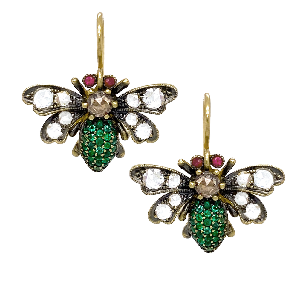 Yellow Gold Emerald Bee Earrings - Lesley Ann Jewels