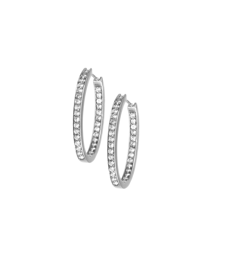 Small white gold diamond hoops