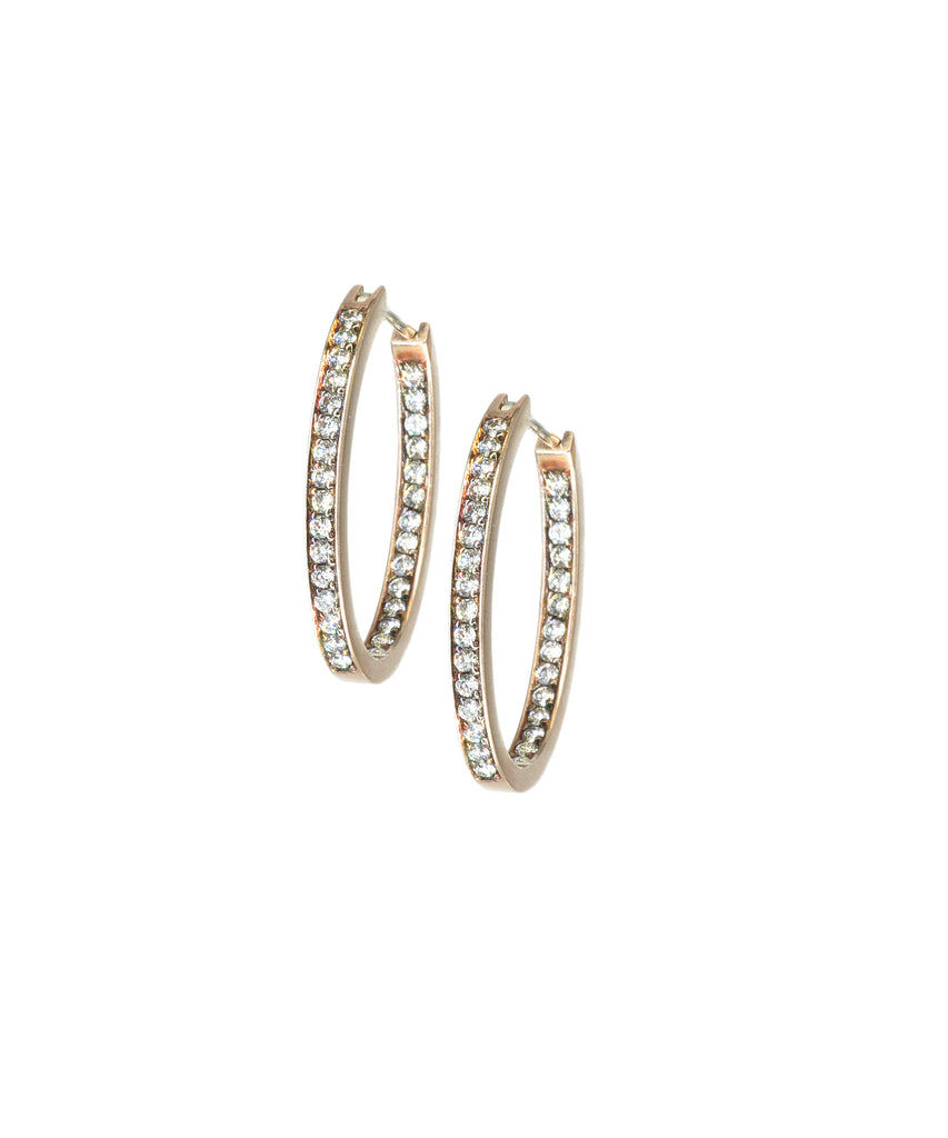 Small rose-gold diamond hoops
