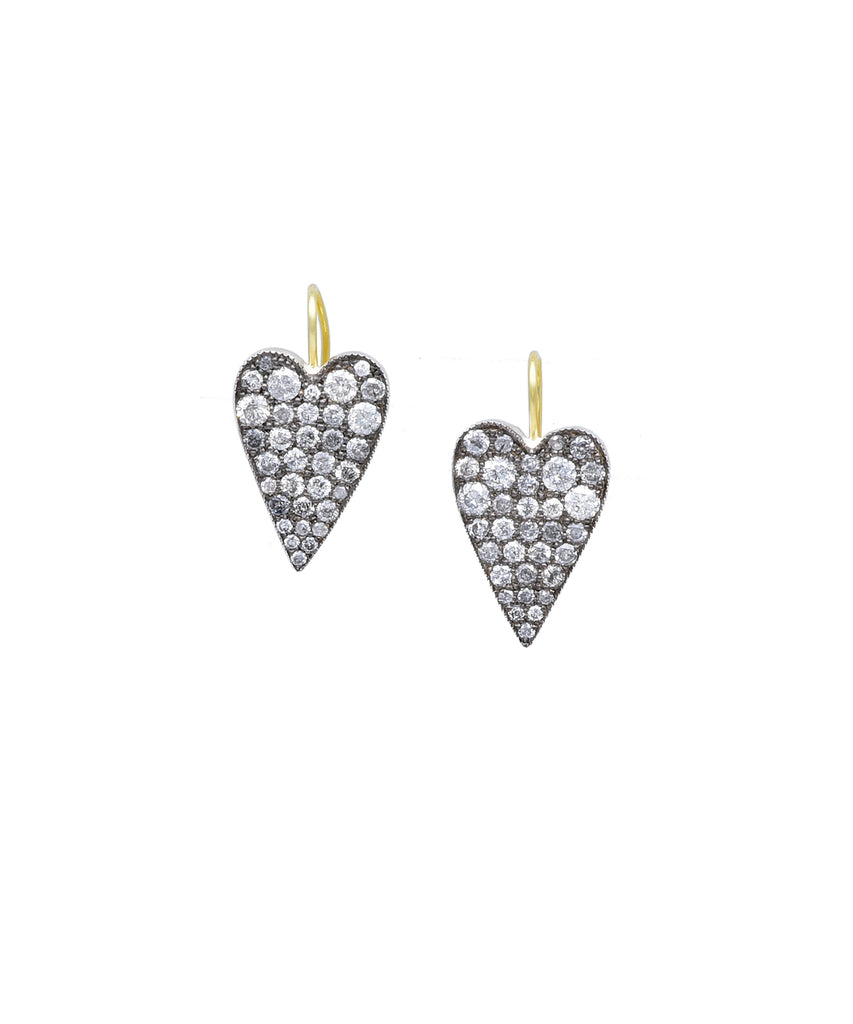 Ten Table heart earrings with grey diamonds - Lesley Ann Jewels