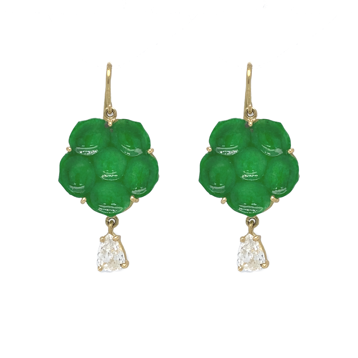 Carved Jade Flower Earrings - Lesley Ann Jewels