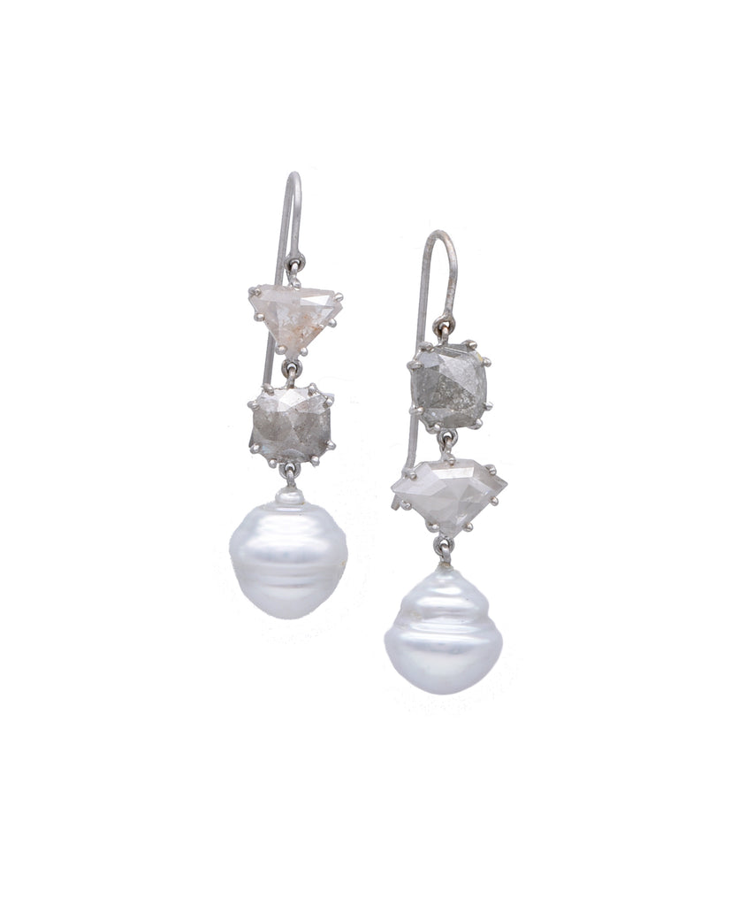 Pearl and Rough Diamond Earrings - Lesley Ann Jewels