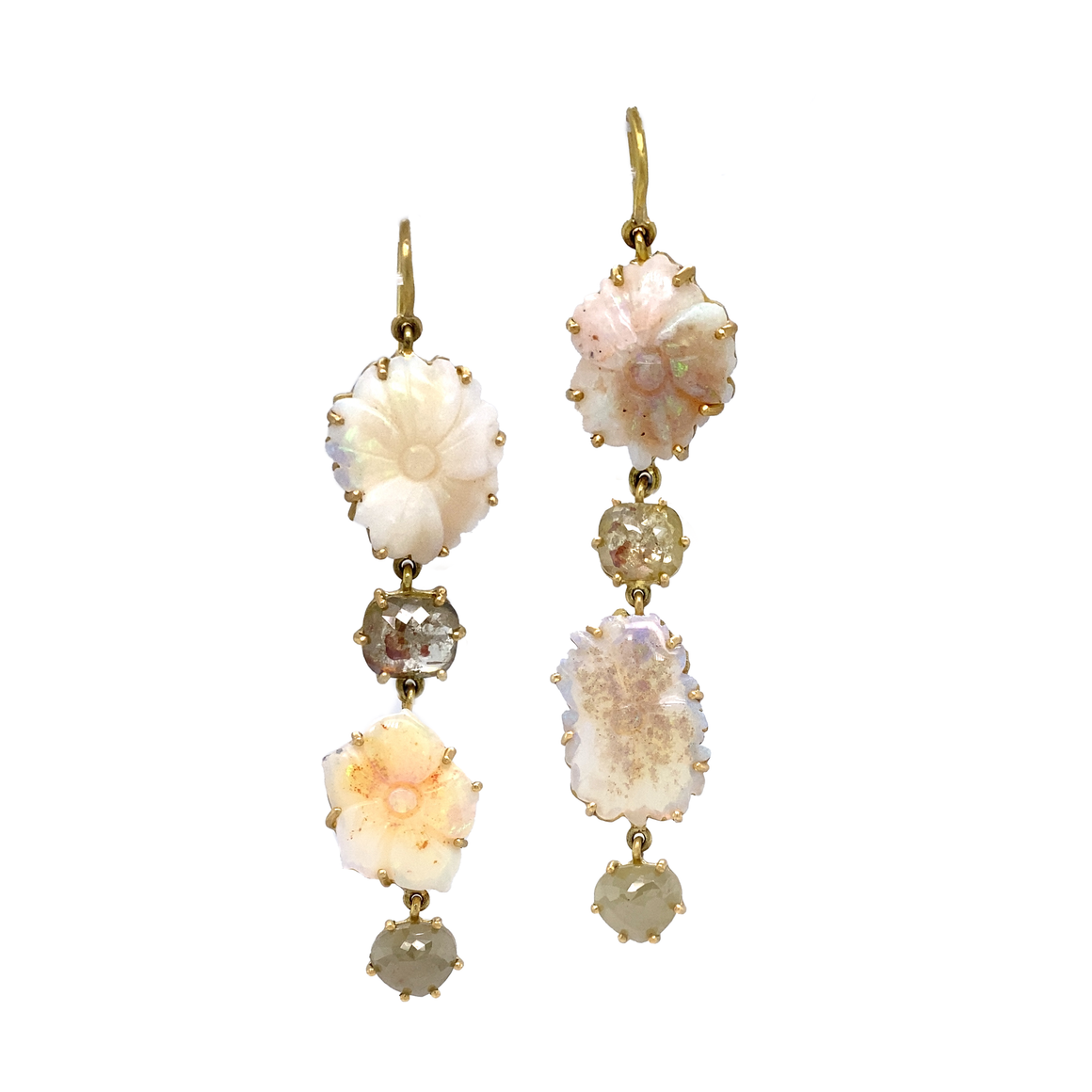 Double Carved Opal Flower Earrings - Lesley Ann Jewels