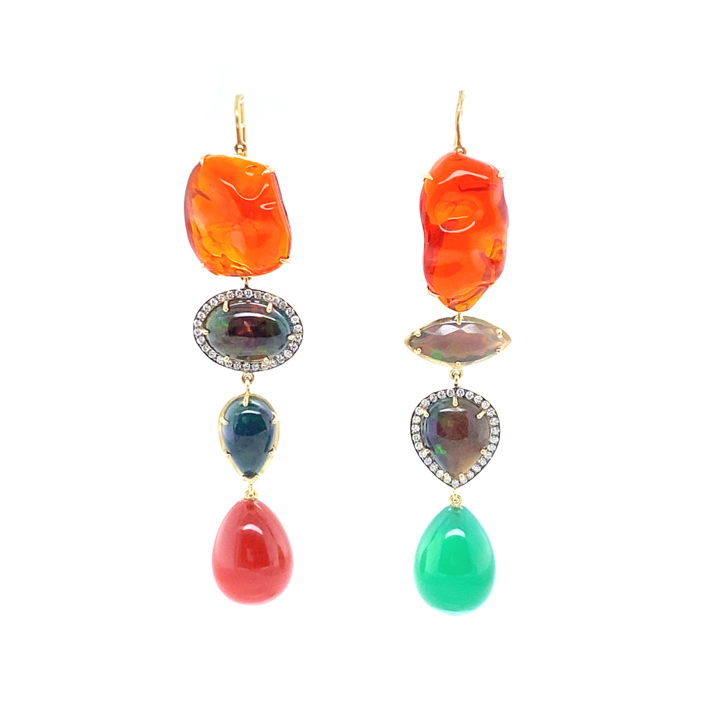 Mexican Mixed Opal Drop Earrings - Lesley Ann Jewels