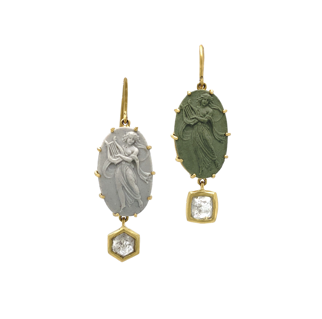 Carved Cameo Earrings - Lesley Ann Jewels
