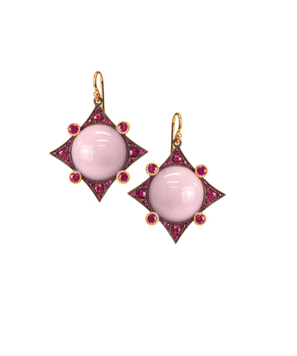 Earrings with pink opal and ruby