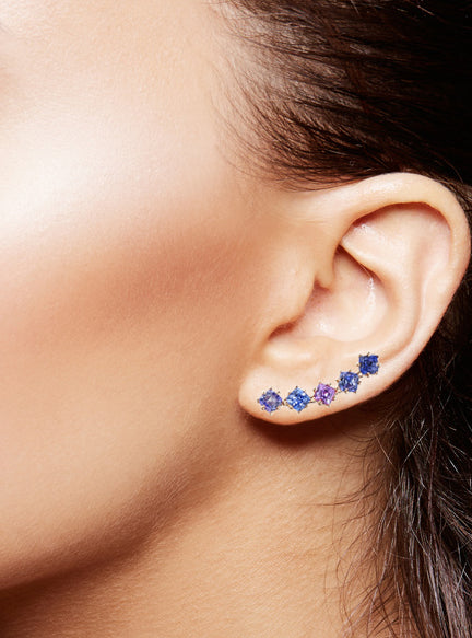 Watercolor sapphire ear climbers