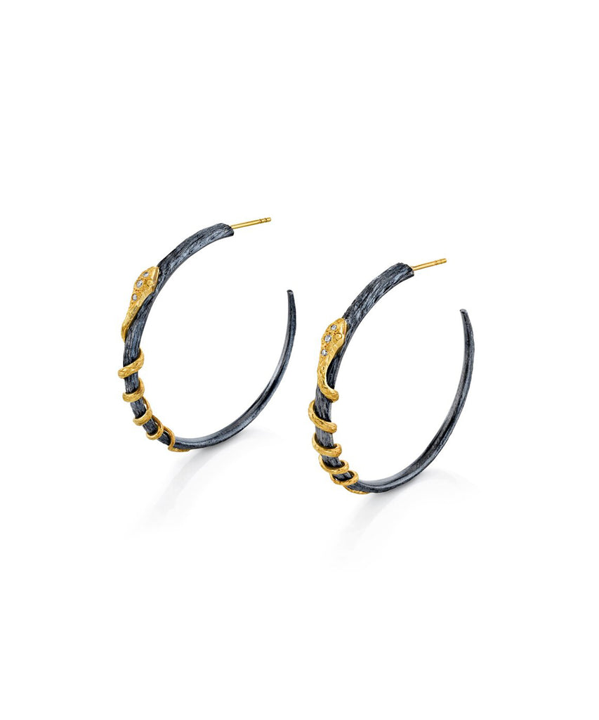 Snake Hoop Earrings - Lesley Ann Jewels