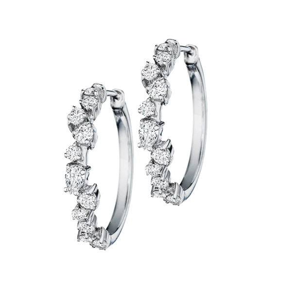 Cluster Diamond Hoops - Lesley Ann Jewels