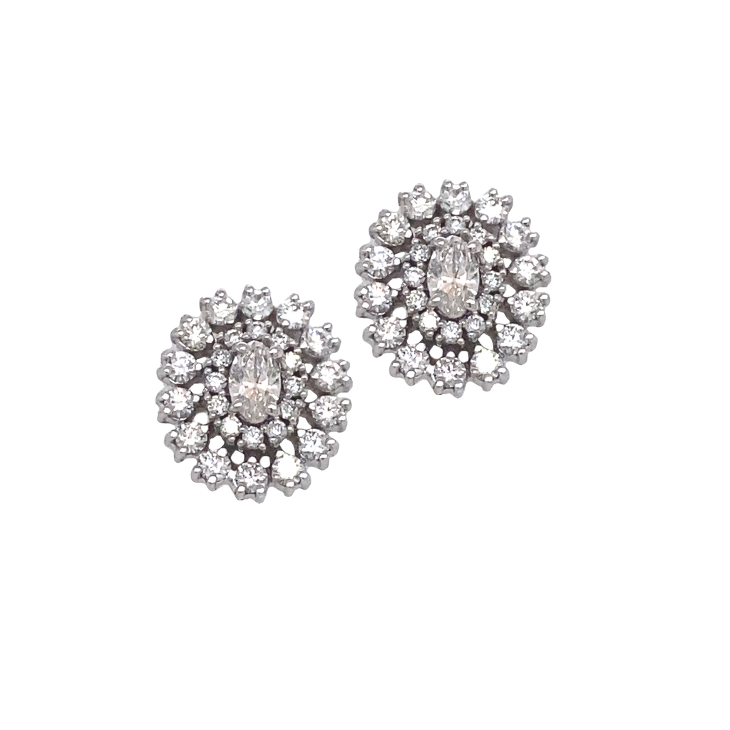 Round Oval Diamond Studs - Lesley Ann Jewels