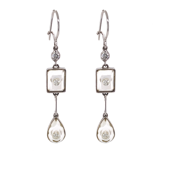 18k Gold Earrings with Diamonds Set in Quartz Crystal - Lesley Ann Jewels
