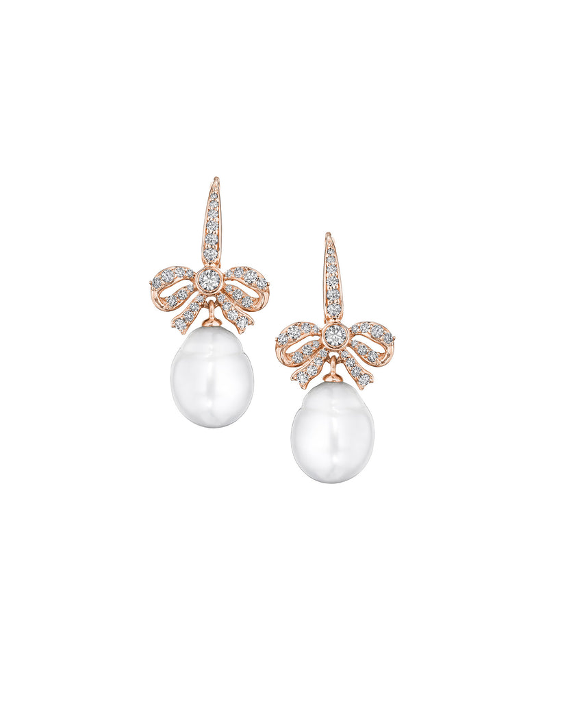 Bow-and-pearl earrings