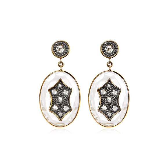 18k Gold and Sterling Earrings with Rose Cut Diamonds - Lesley Ann Jewels