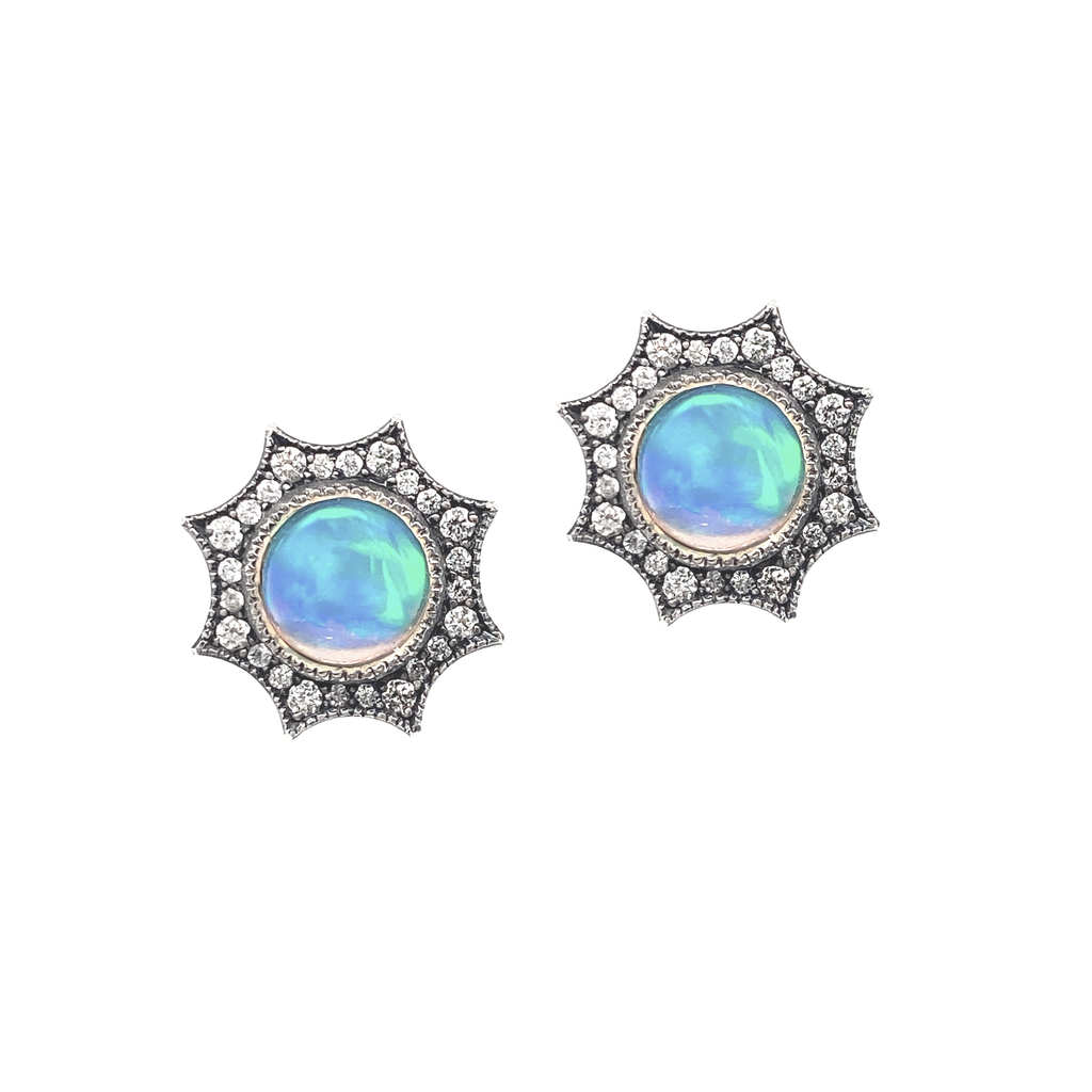 Opal Starburst Stud Earrings - Lesley Ann Jewels