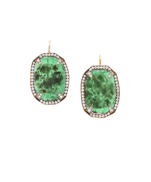 Emerald thorn earrings