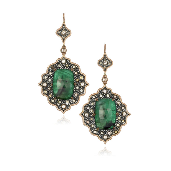 18k Rose Gold Earrings with Emeralds and Rose Cut Diamonds - Lesley Ann Jewels