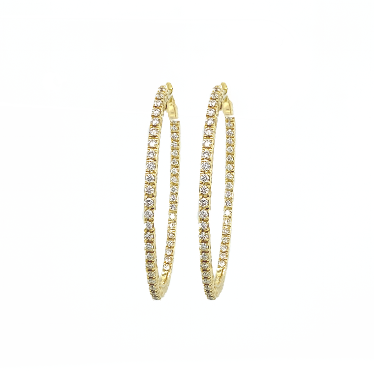 Oval Inside Out Diamond Hoops Yellow Gold - Lesley Ann Jewels