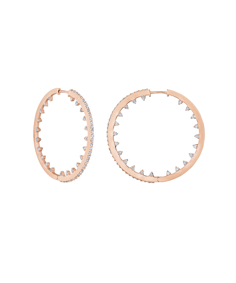 Rose gold spiky hoops