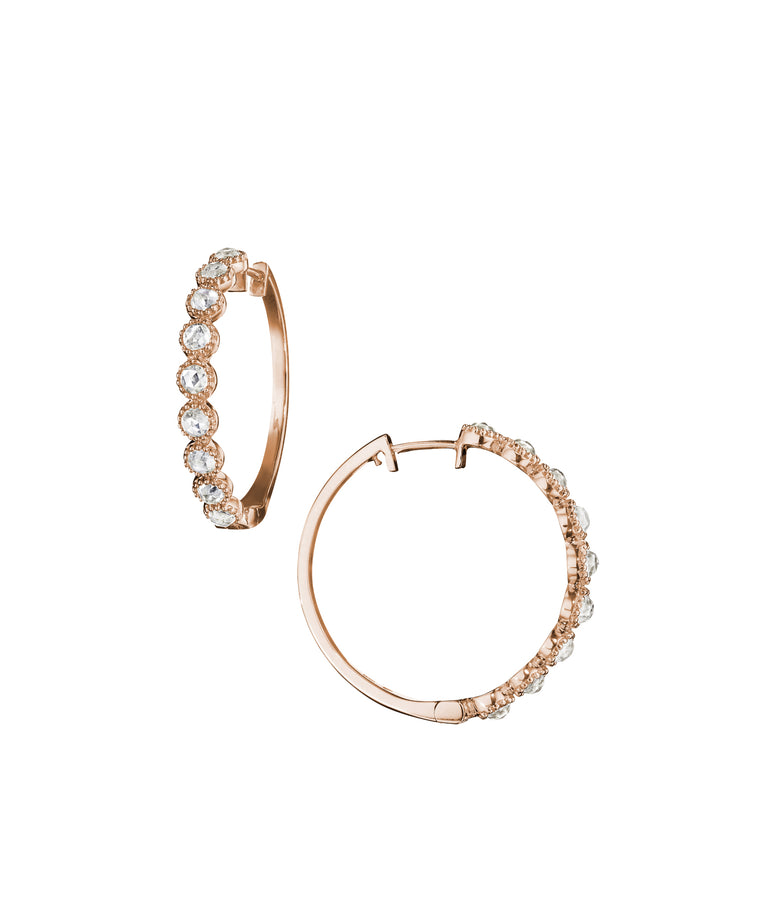 Rose gold moonstone  hoops