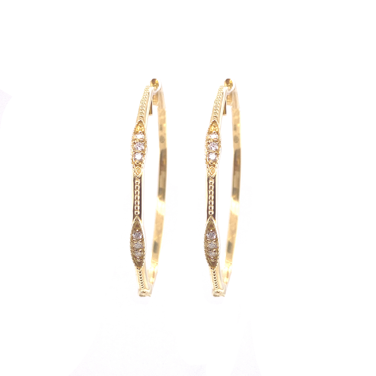 Beaded Marquis Hoops - Lesley Ann Jewels