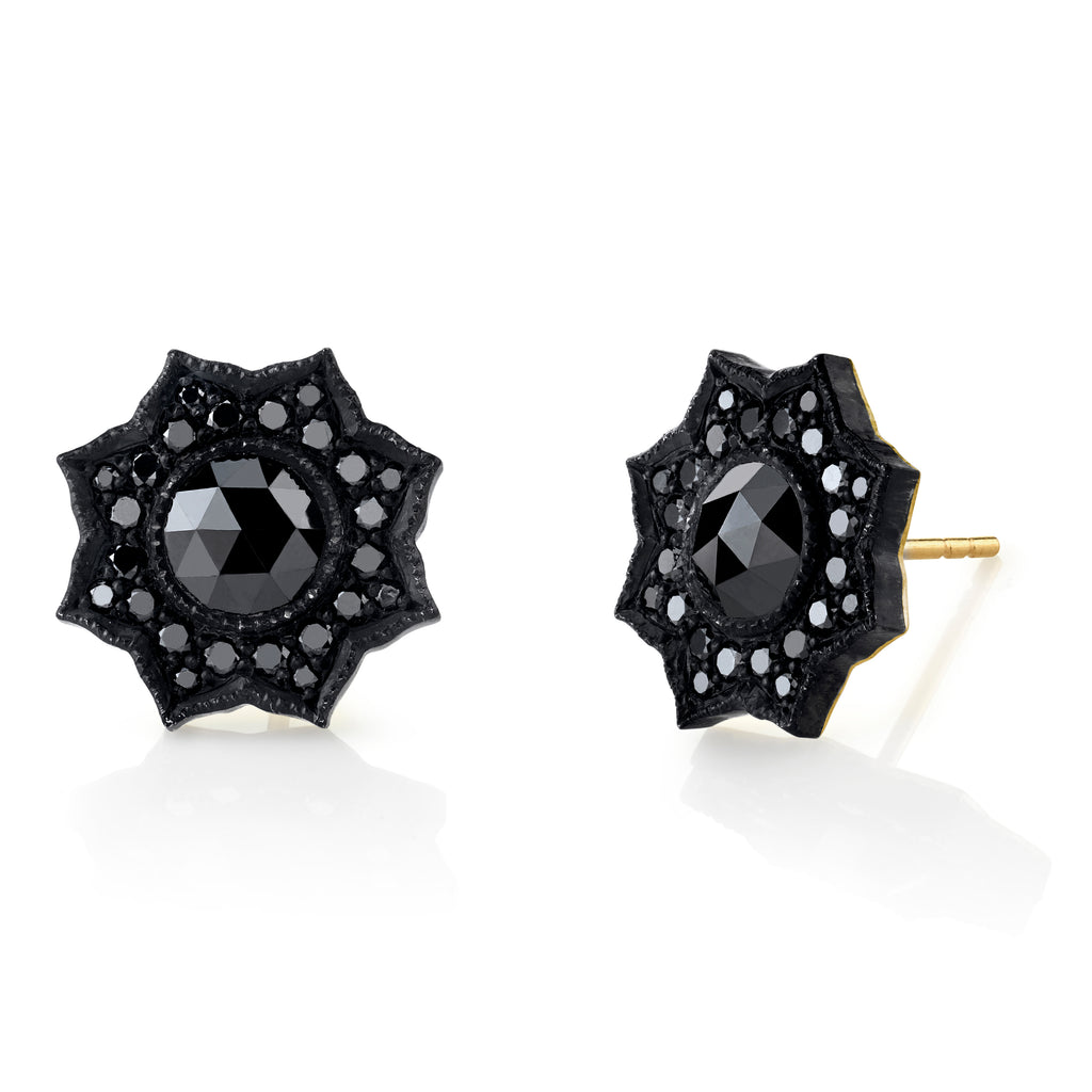 Black Diamond Flower Stud Earrings - Lesley Ann Jewels