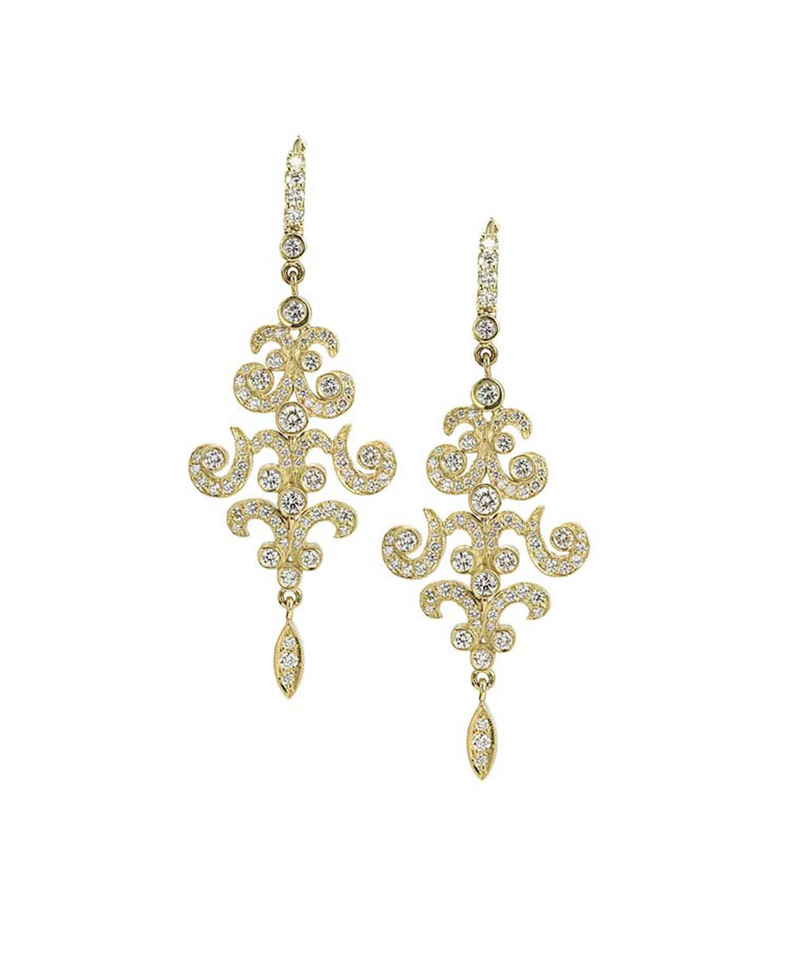 Open scroll diamond earrings