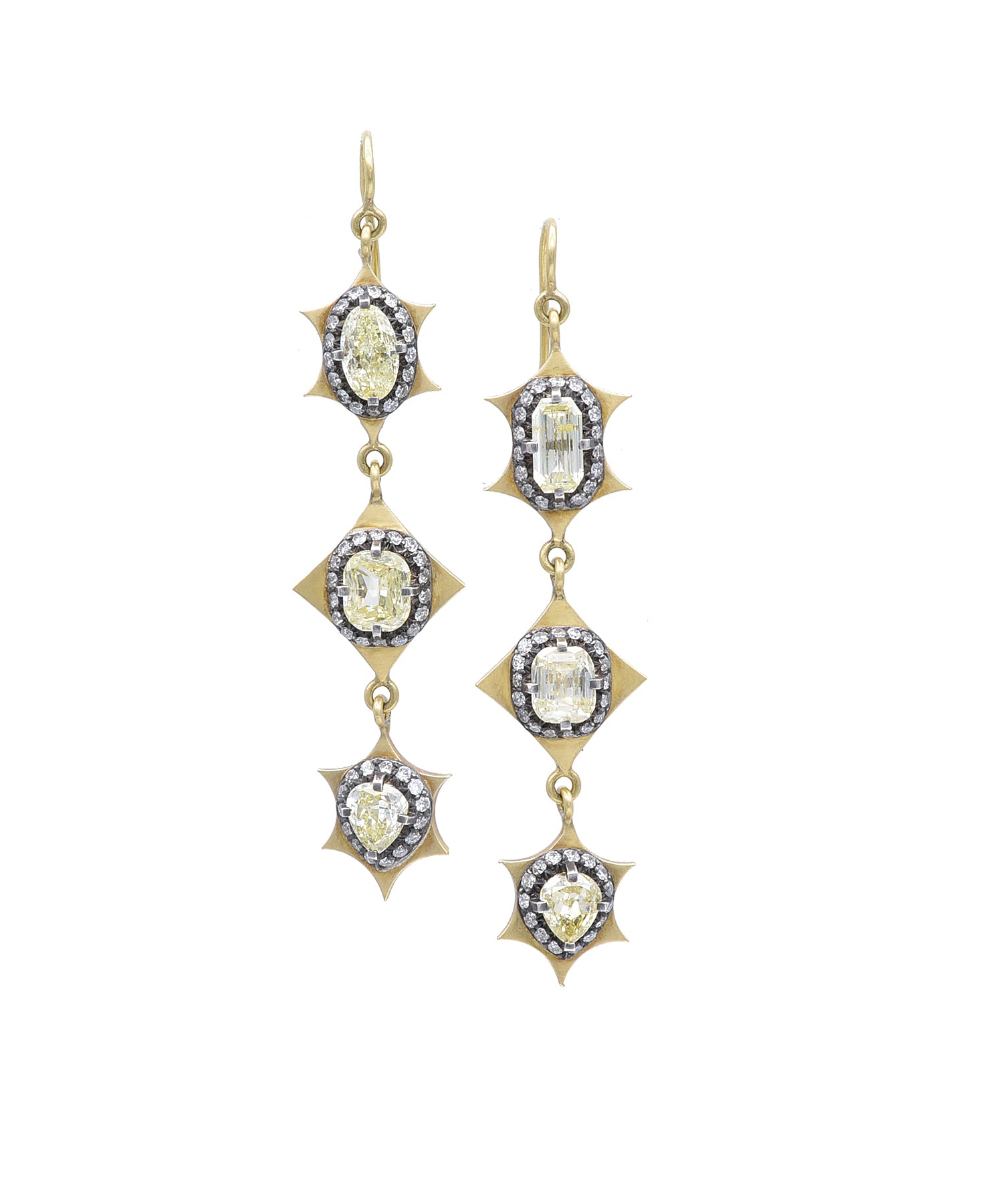 Remarkable mixed-shape diamond earrings