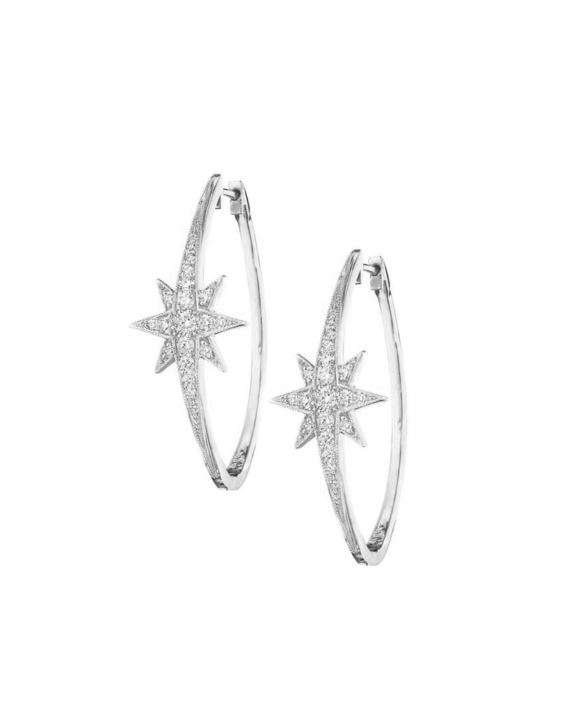 White Gold Starburst Hoops - Lesley Ann Jewels