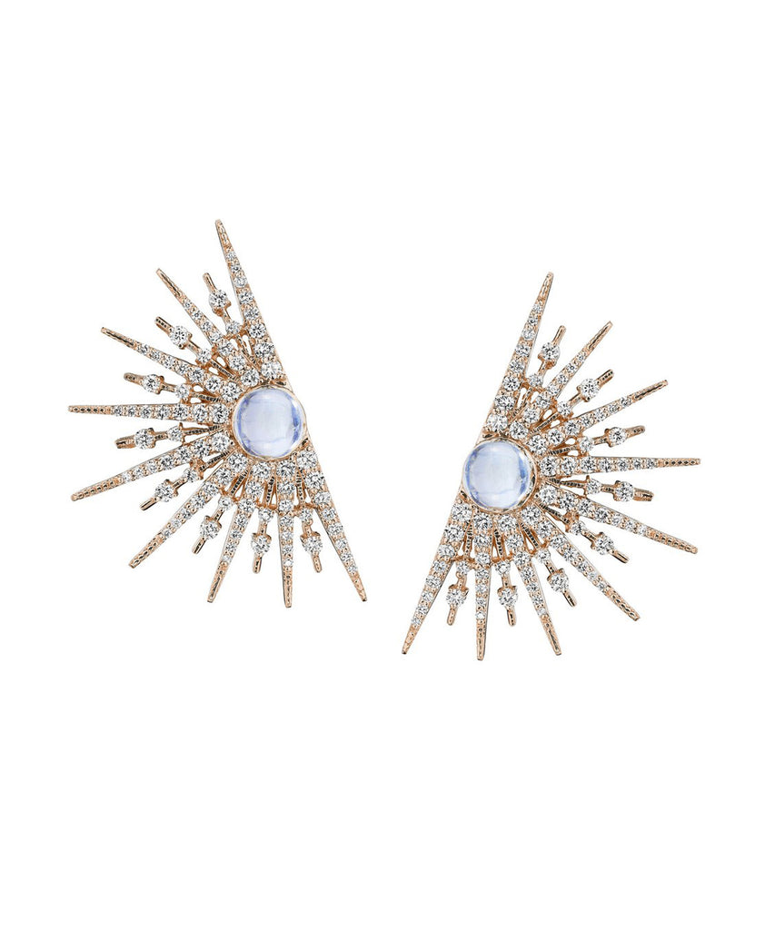 Rose gold starburst earrings with moonstones - Lesley Ann Jewels