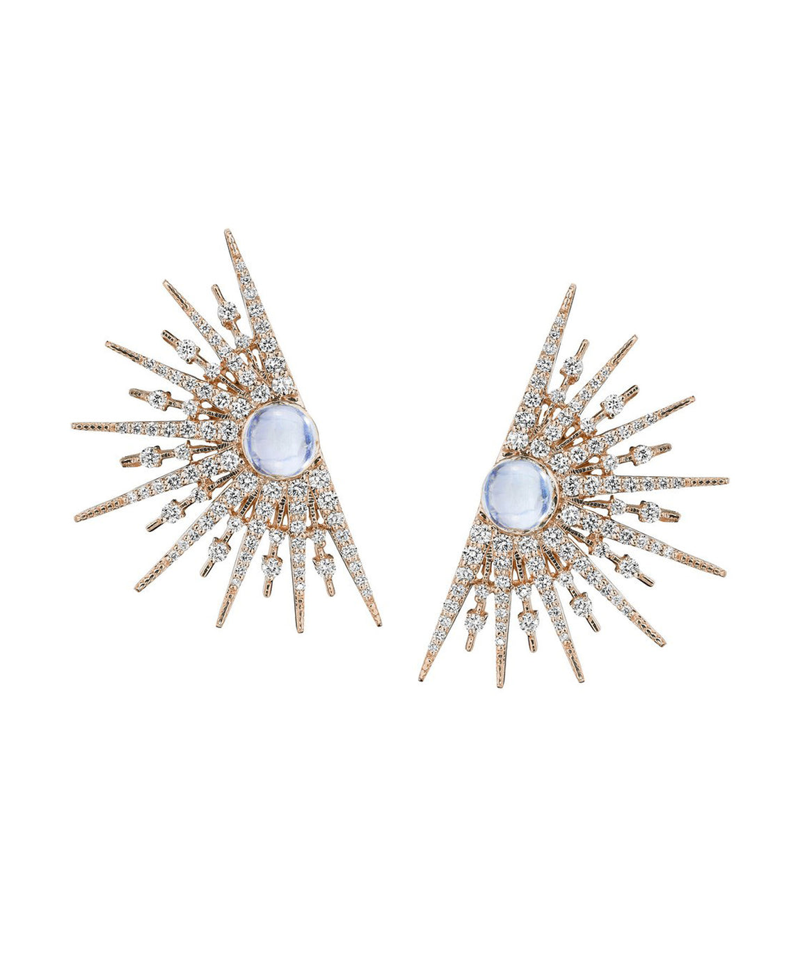 Rose gold starburst earrings with moonstones
