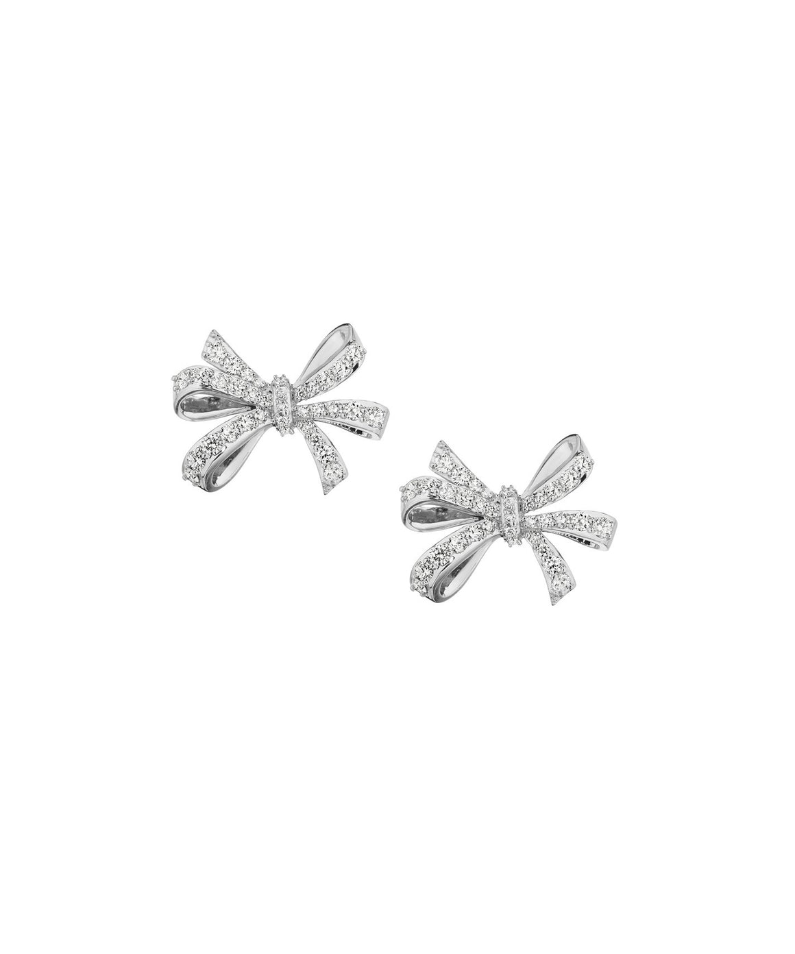 Double-loop bow stud earrings