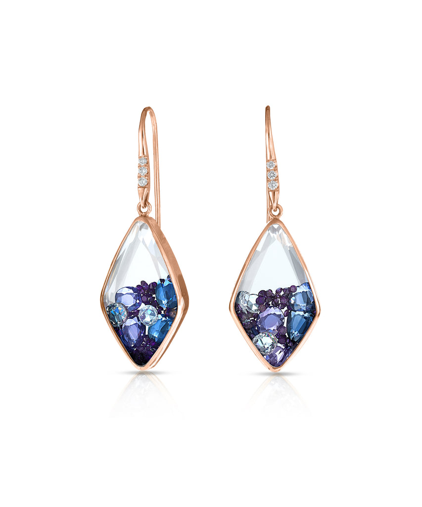 Kaleidoscope shaker earrings with colored sapphires