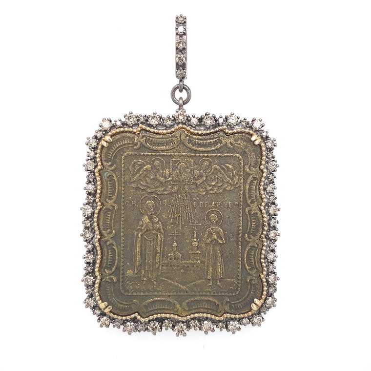 Ancient Religious Russian Icon Pendant - Lesley Ann Jewels