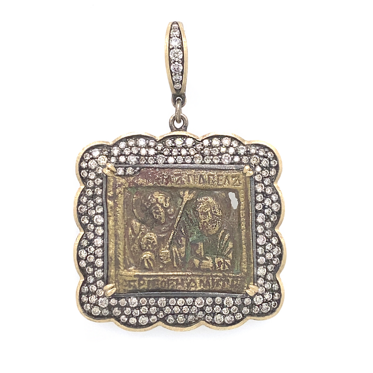 18th Century Russian Icon Bronze Pendant - Lesley Ann Jewels
