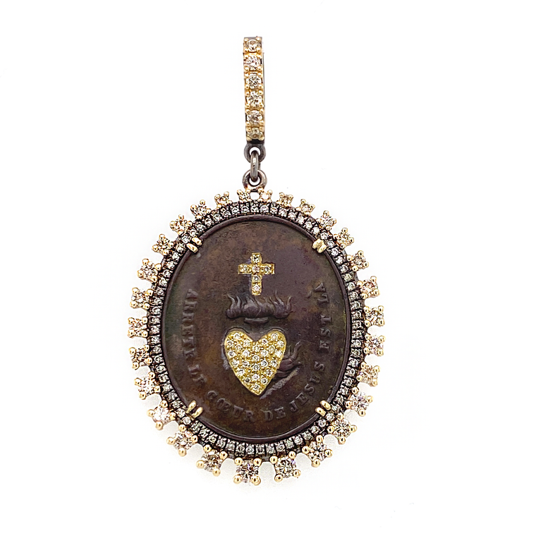 French Sacred Heart Pendant - Lesley Ann Jewels