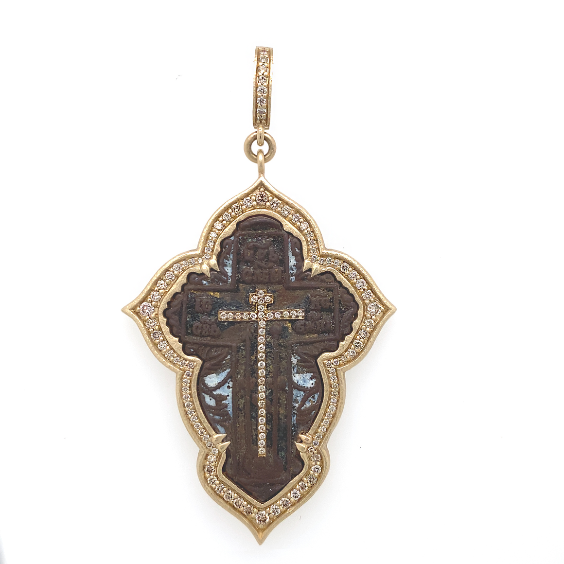 Large Old Believer Cross with Enamel Pendant - Lesley Ann Jewels