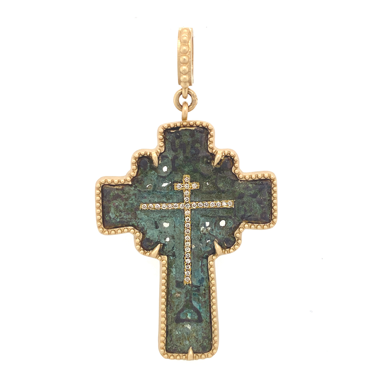 Ancient Bronze Sun Cross Pendant - Lesley Ann Jewels