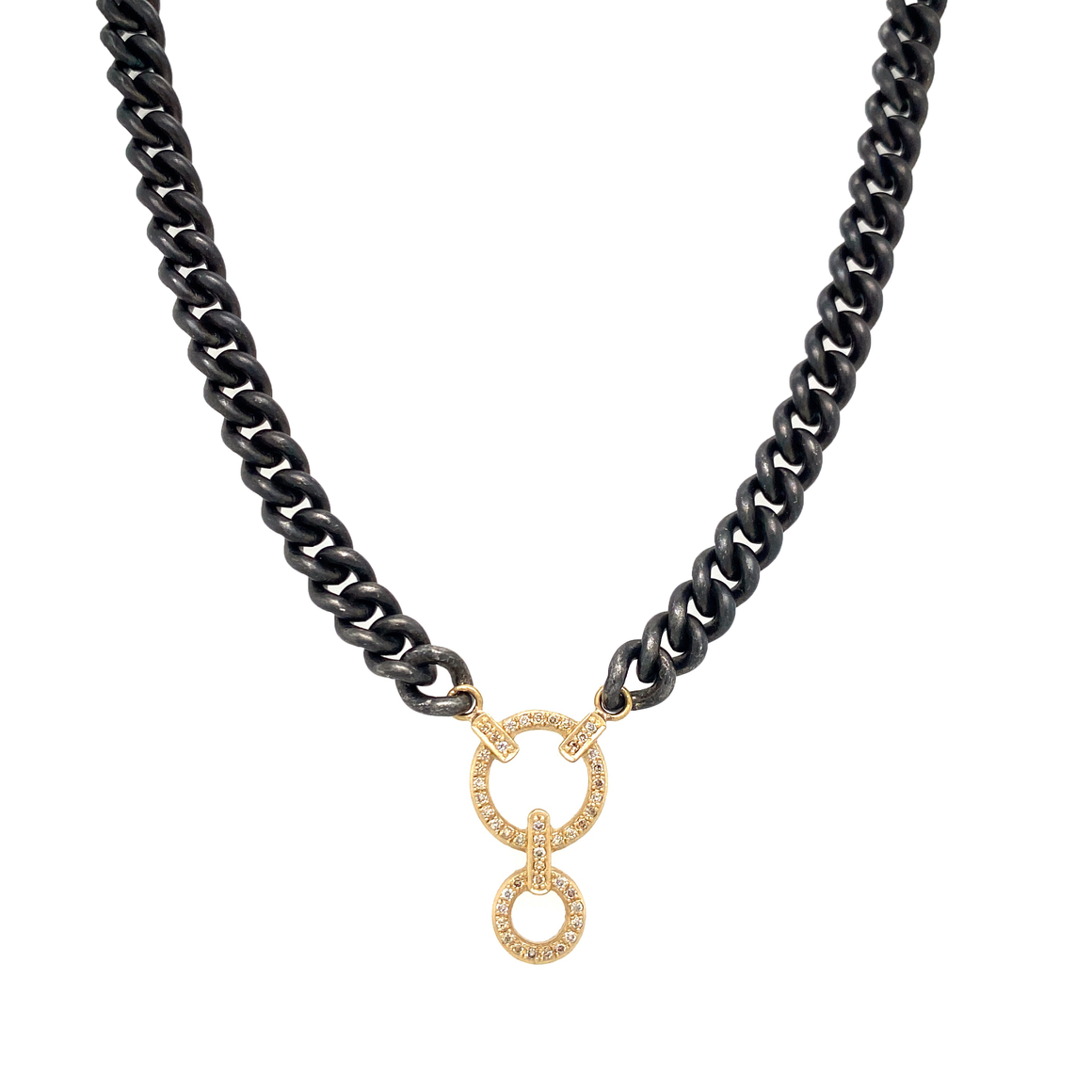 Classic Double Circle Curb Link Necklace - Lesley Ann Jewels