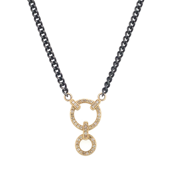 Classic Double Circle Small Curb Link Necklace - Lesley Ann Jewels