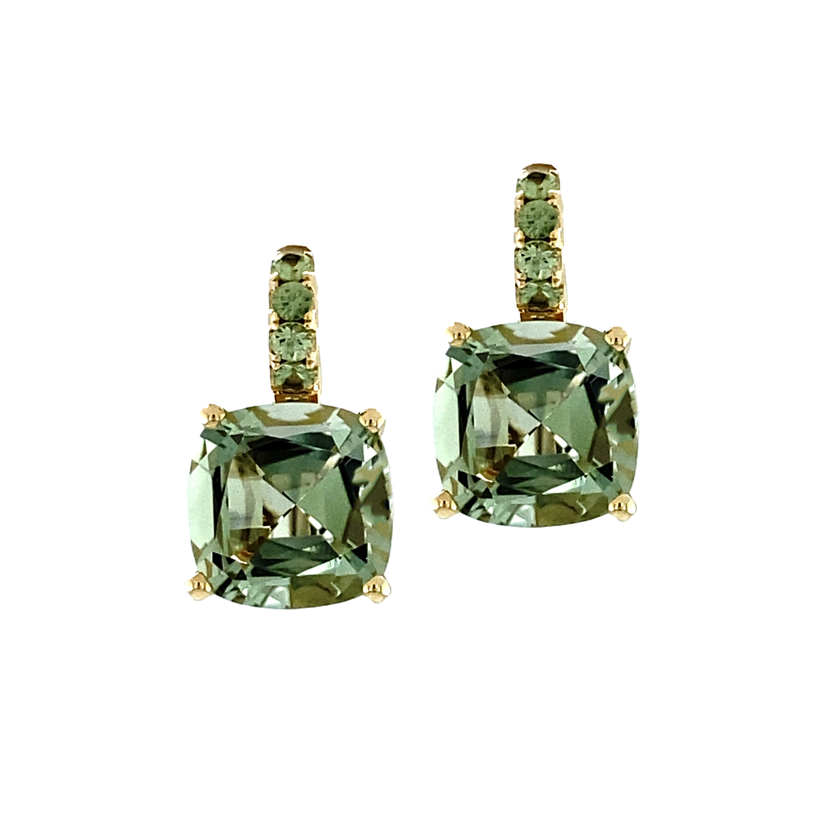 Green Sapphire and Quartz Candy Drop Earrings