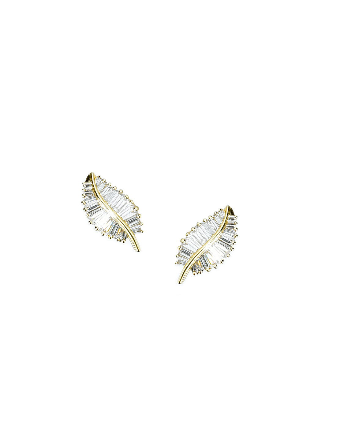 Baguette diamond leaf earrings