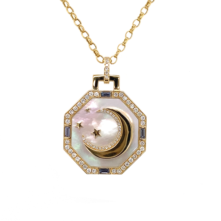 Octagonal Luna Pendant on Chain - Lesley Ann Jewels