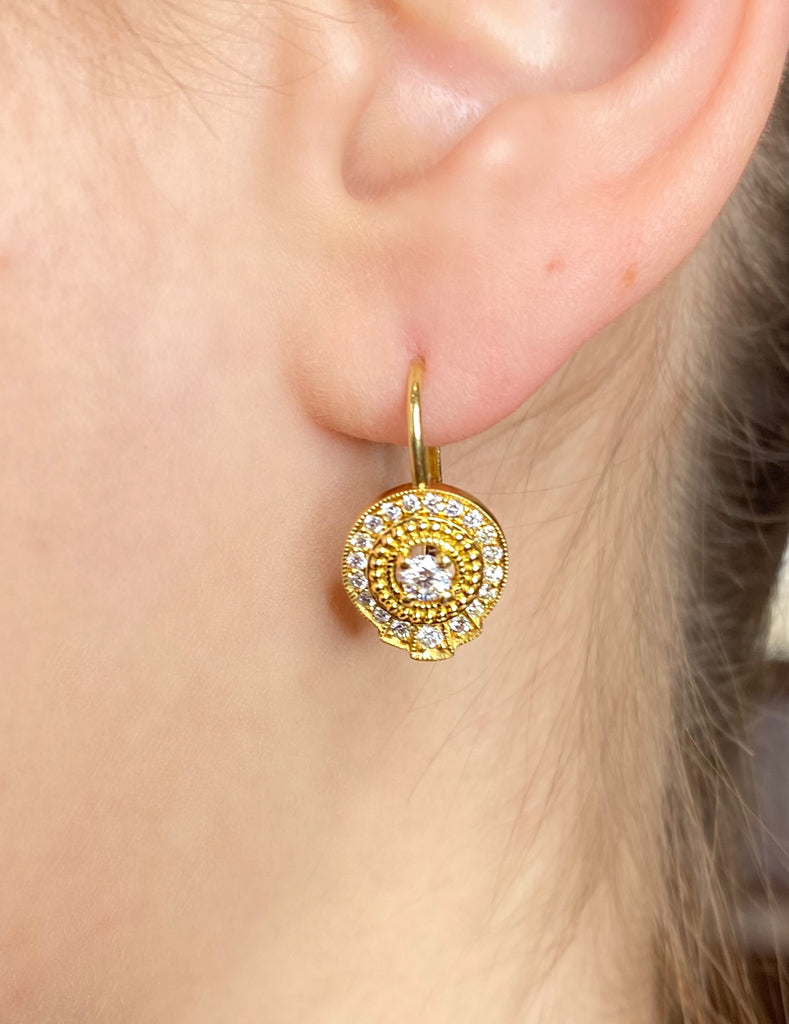 Round Diamond Earrings on French Wire - Lesley Ann Jewels