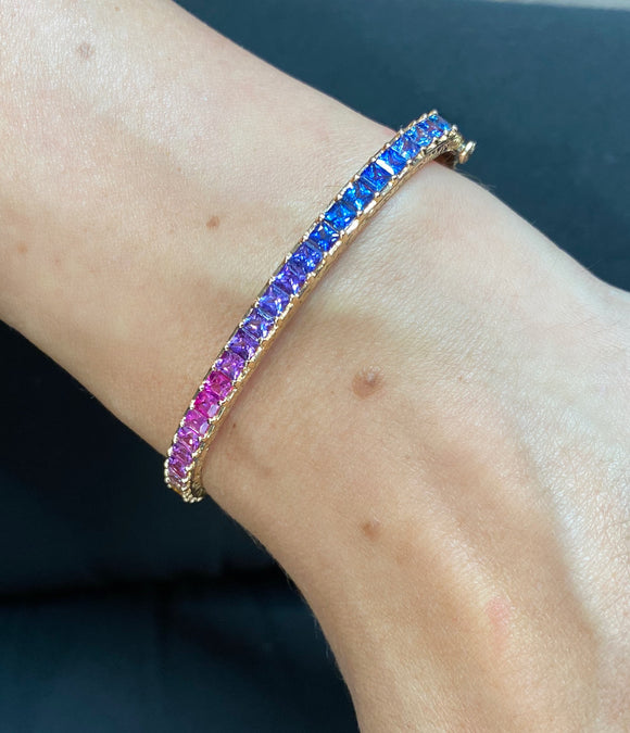 Princess-cut watercolor sapphire bangle - Lesley Ann Jewels