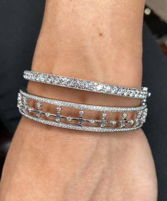 White gold bangle with baguettes - Lesley Ann Jewels
