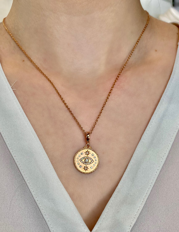 Evil Eye pendant in rose gold - Lesley Ann Jewels